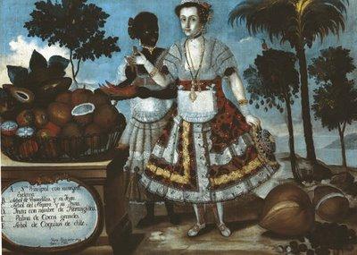"""""""Mantuana"""" espagnole avec son esclave noire, XVIIIème siècle."""