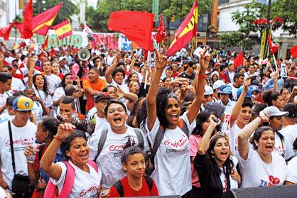 Mobilisation étudiante en faveur de la révolution bolivarienne, Caracas, décembre 2013.