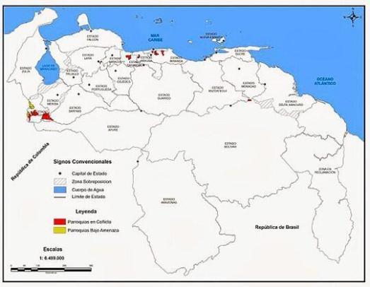 En rouge les zones qui subissent les violences de l'extrême droite. Les autorités vénézuéliennes sont actuellement à la recherche de trois bandes paramilitaires (liées aux AUC colombiennes)  infiltrées dans l'État de Carabobo. Ces mercenaires responsables de la majorité des atrocités en Colombie, sont financés par une alliance entre l'ex-président Uribe, le Département d'État US et leurs alliés de la droite radicale vénézuélienne.