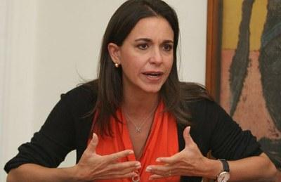 María Corina Machado, ex-députée de la droite radicale, avait signé le décret du coup d'État de 2002 contre Hugo Chavez, décret qui supprimait le parlement, la constitution, et l'ensemble des institutions démoctratiques.