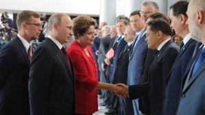 La présidente du Brésil Dilma Roussef et le président russe Vladimir Poutine