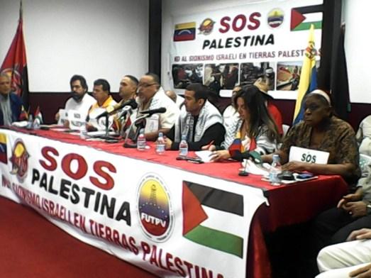 Réunion de solidarité de syndicats bolivariens avec le peuple palestinien,  16 juillet 2014
