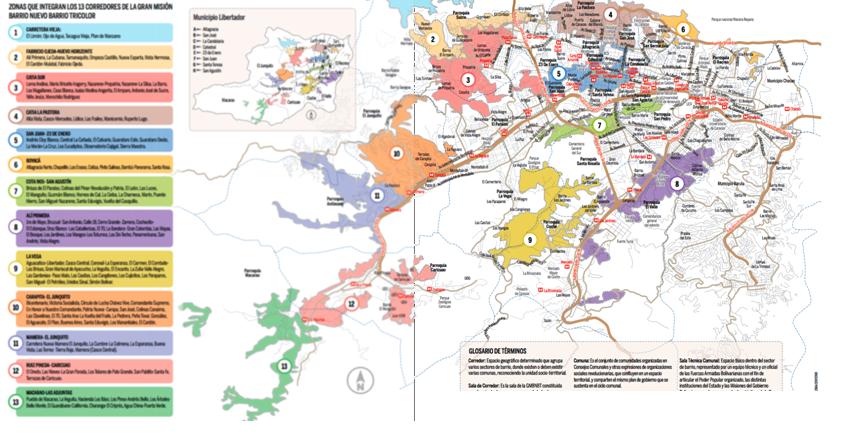 Secteurs de la capitale (en couleurs et numérotés) où se déploie la Mission Sociale Quartier Nouveau, Quartier Tricolore (2014)