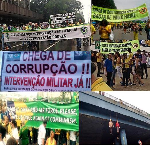 """Brésil, mars 2015. """"Dilma dehors !"""", """"Assez de corruption !"""", """"Nous réclamons une intervention militaire d'urgence face aux trois pouvoirs pourris !"""". """"Assez d'endoctrinement marxiste"""", """"Assez de Paulo Freire"""" (créateur de la célèbre """"Pédagogie de l'opprimé"""", NdT), """"US Navy et Air Force, sauvez-nous á nouveau!"""", des effigies de Lula et Dilma pendues á un pont : comme au Mexique ou au Venezuela, des élites et des classes moyennes, soutenues par l'hégémonie des médias privés, retrouvent les accents des Pinochet contre la possibilité d'une éducation populaire critique... et ne seraient pas fâchés de  remettre en activité les caves de la dictature militaire pour éliminer les """"toxines marxistes"""""""