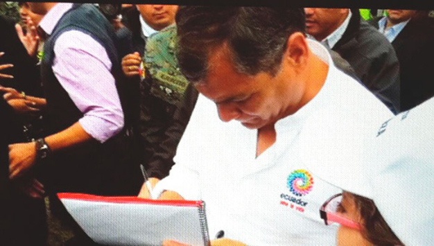 En Équateur, le président Correa s'est joint á la campagne
