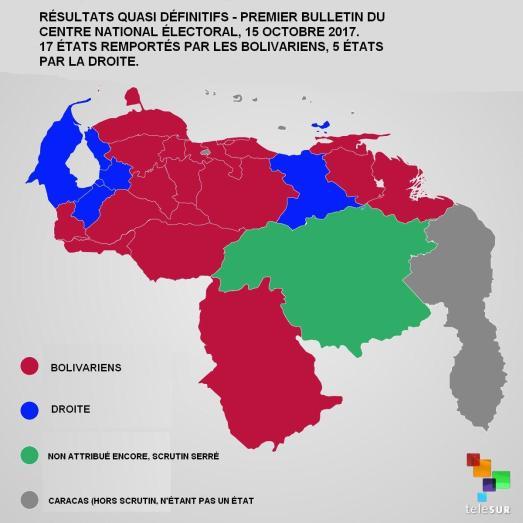 Carte résultats Régionales Venezuela