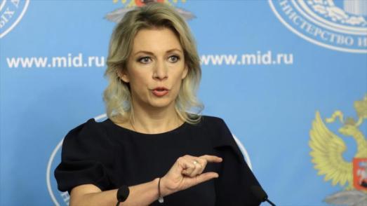 La-portavoz-del-Ministerio-de-Asuntos-Exteriores-de-Rusia-María-Zajárova-ofrece-su-rueda-de-prensa-semanal-en-Moscú.