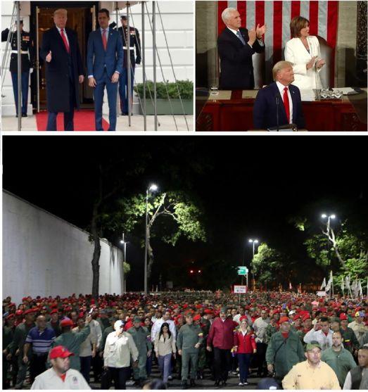 L'hologramme Guaido et ses putschistes d'extrême droite re-adoubés par Trump. Comment lancer l'intervention militaire ? Les grands médias préparent le terrain en faisant passer Guaido pour un démocrate et le Venezuela pour une dictature. Déchirer un discours est une image vide, un alibi médiatique. Nancy Pelosi s'est levée pour applaudir le faux président du Venezuela autoproclamé par Trump. Deux leaderships pourris jusqu'à la moelle. Le 4 février, le président vénézuélien Nicolas Maduro a pris la tête d'une marche dans le centre-ville de Caracas en l'honneur de la rébellion civilo-militaire du 4 février 1992, menée par le commandant Hugo Chávez. Ce 4 février vient de loin, de la résistance indigène, des lutteurs Noirs d'avant l'indépendance, des actes héroïques de nos Libérateurs Bolívar, Sucre, avec l'appui décisif de Pétion.. une lutte reprise dans les temps modernes, par Hugo Chavez.
