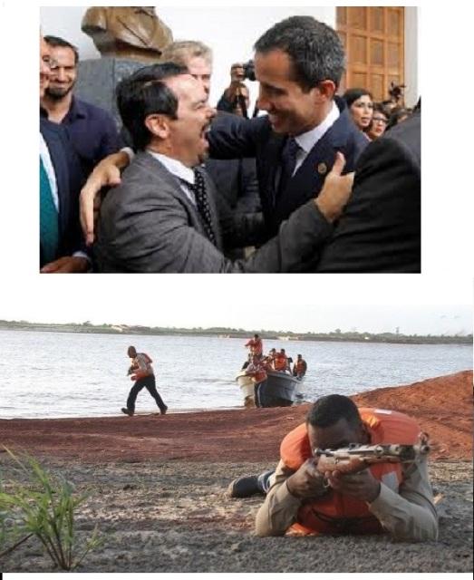 """En haut : en escortant le délinquant Juan Guaido (putschiste d'extrême droite élu par Trump, lié à une bande d'assassins paramilitaires et narcotrafiquants de Colombie, ultra-corrompu selon des médias colombiens, panaméens, le Washington Post, son ex-""""ambassadeur"""" à Bogota ou plusieurs ex-amis députés de droite), l'ambassadeur français à Caracas Romain Nadal perpétue une ingérence coloniale sans avenir. En bas: Face aux menaces de Trump contre le Venezuela, répétées à Washington lors de la visite de Juan Guaido, la population s'entraîne le 15 février aux côtés des forces armées bolivariennes pour protéger le pays."""