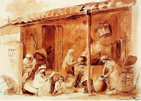 """""""Cuisine à l'extérieur"""" (1854), peinture de Camille Pissarro pendant son séjour au Venezuela"""